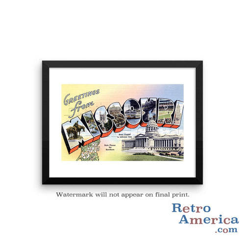 Greetings from Missouri MO 1 Postcard Framed Wall Art