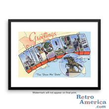 Greetings from Missouri MO 2 Postcard Framed Wall Art