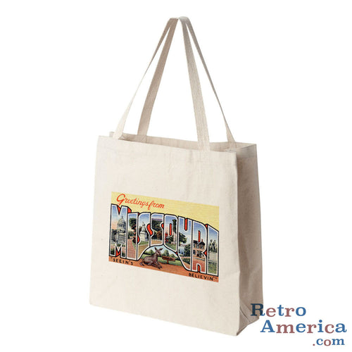 Greetings from Missouri MO 3 Postcard Tote Bag