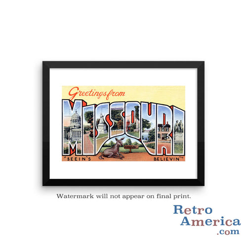 Greetings from Missouri MO 3 Postcard Framed Wall Art
