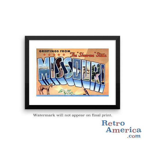 Greetings from Missouri MO 4 Postcard Framed Wall Art