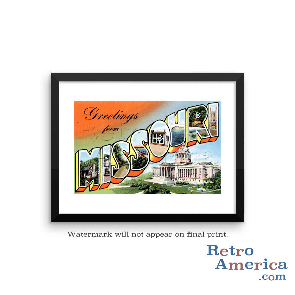 Greetings from Missouri MO 5 Postcard Framed Wall Art