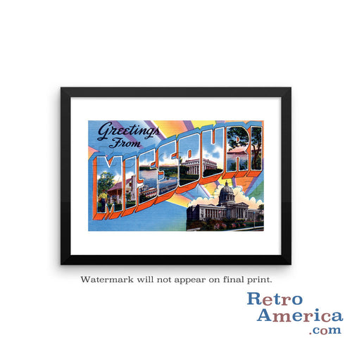 Greetings from Missouri MO 6 Postcard Framed Wall Art