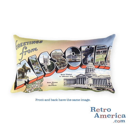Greetings from Missouri Throw Pillow 1