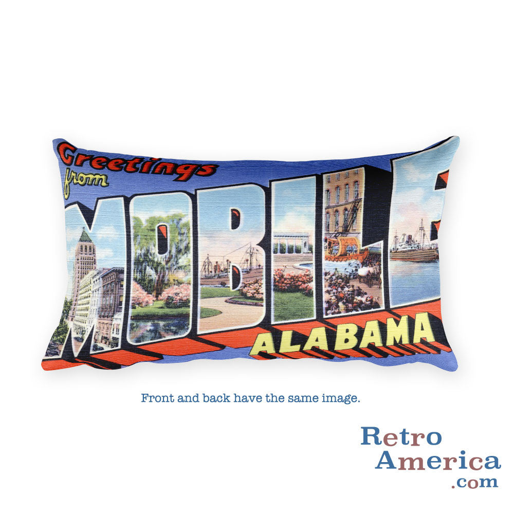 Greetings from Mobile Alabama Throw Pillow