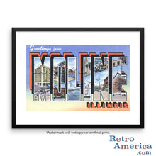 Greetings from Moline Illinois IL Postcard Framed Wall Art
