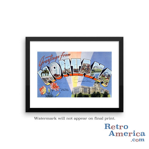 Greetings from Montana MT 1 Postcard Framed Wall Art