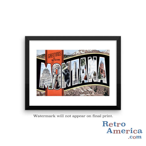 Greetings from Montana MT 2 Postcard Framed Wall Art