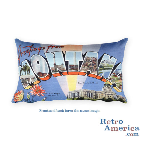 Greetings from Montana Throw Pillow 1