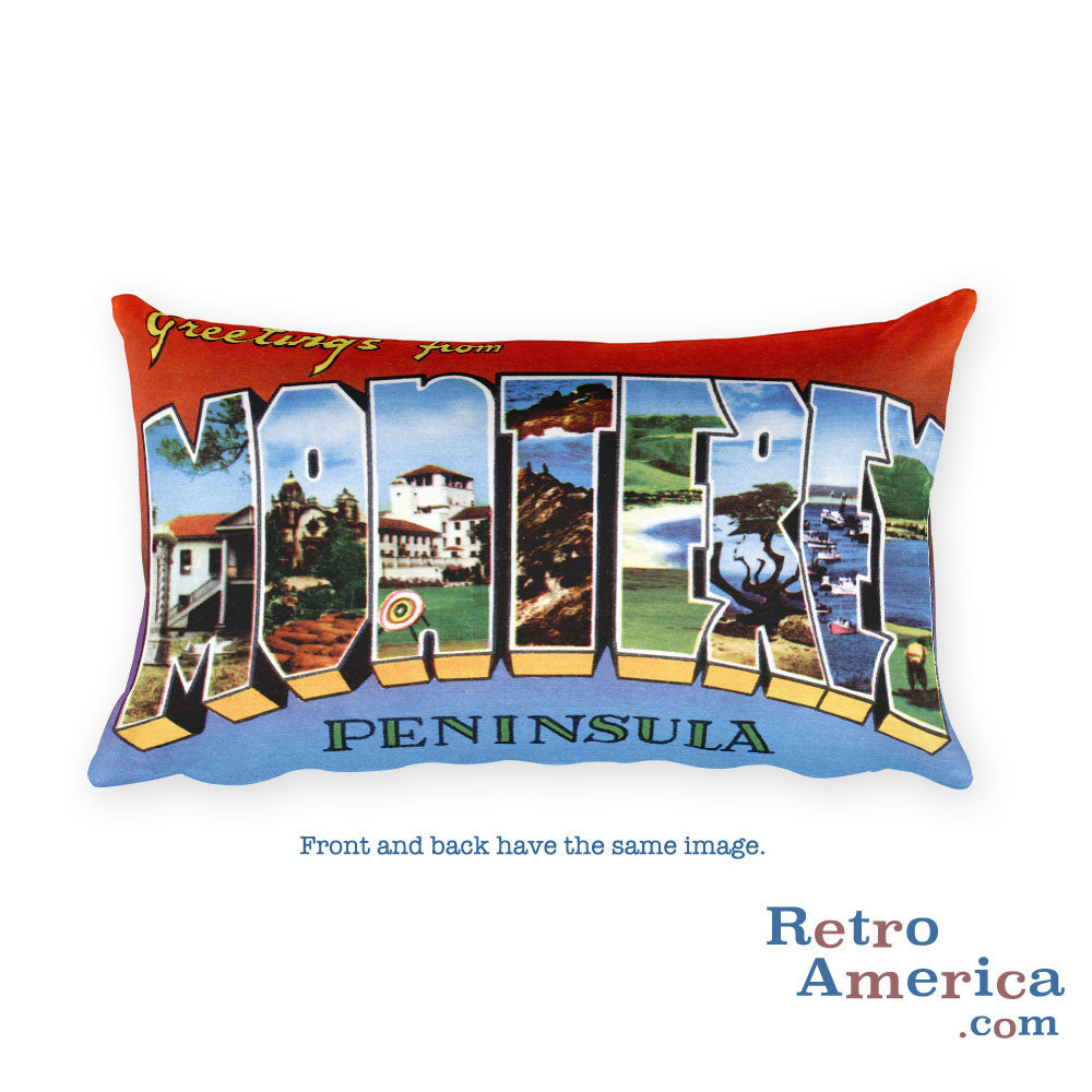 Greetings from Monterey California Throw Pillow