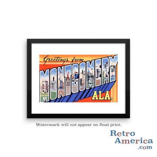 Greetings from Montgomery Alabama AL Postcard Framed Wall Art