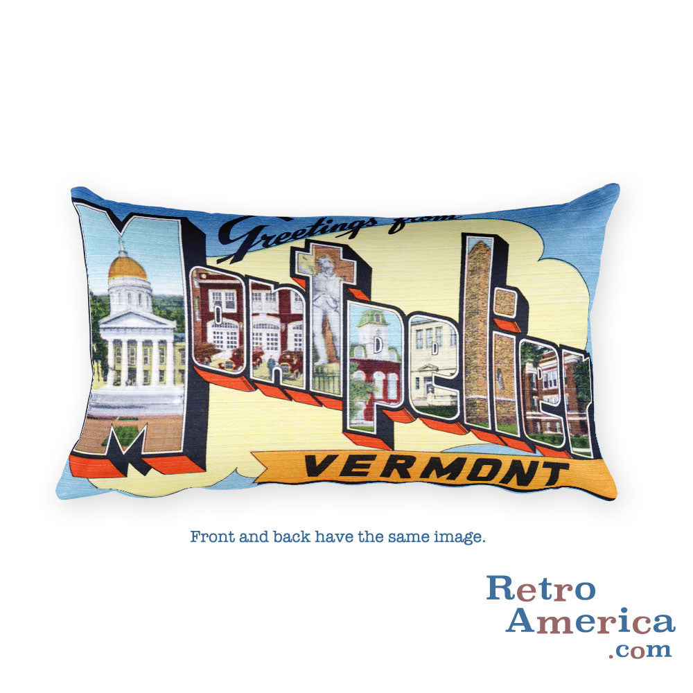 Greetings from Montpelier Vermont Throw Pillow