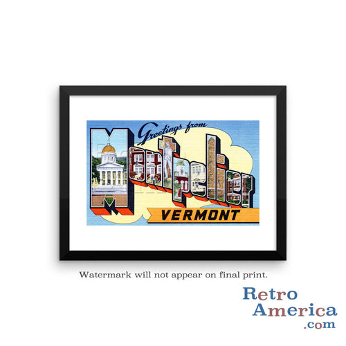 Greetings from Montpelier Vermont VT Postcard Framed Wall Art