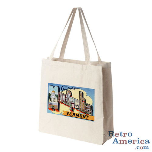 Greetings from Montpelier Vermont VT Postcard Tote Bag