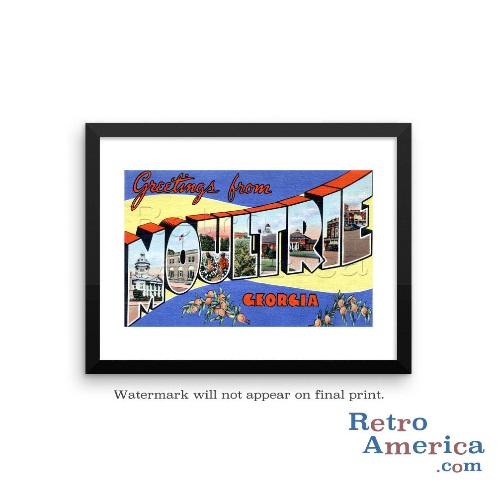 Greetings from Moultrie Georgia GA Postcard Framed Wall Art