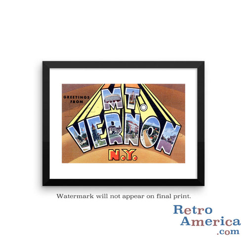 Greetings from Mt Vernon New York NY Postcard Framed Wall Art