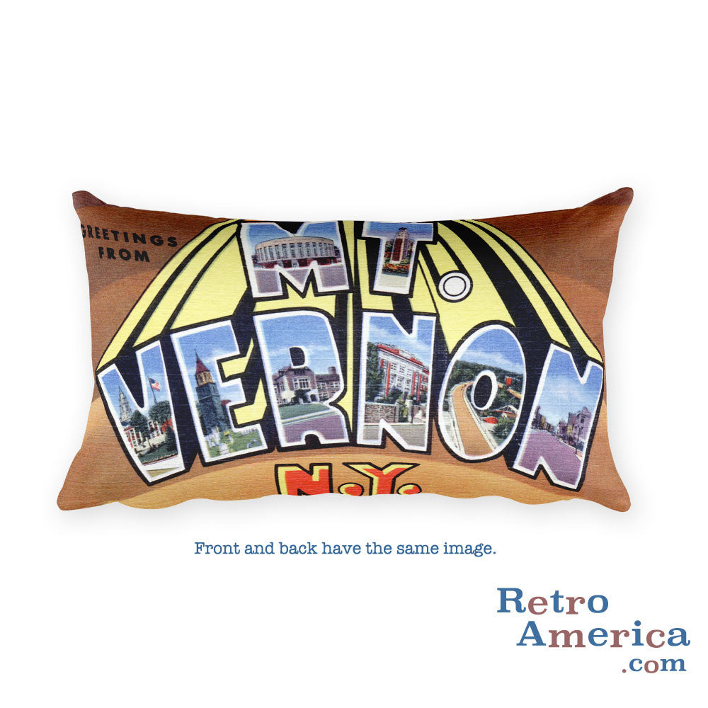 Greetings from Mt Vernon New York Throw Pillow