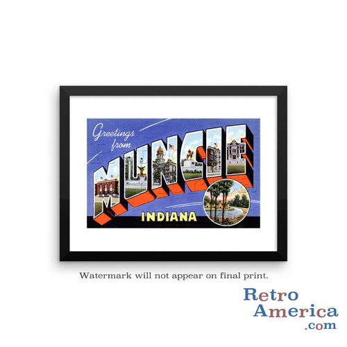 Greetings from Muncie Indiana IN Postcard Framed Wall Art