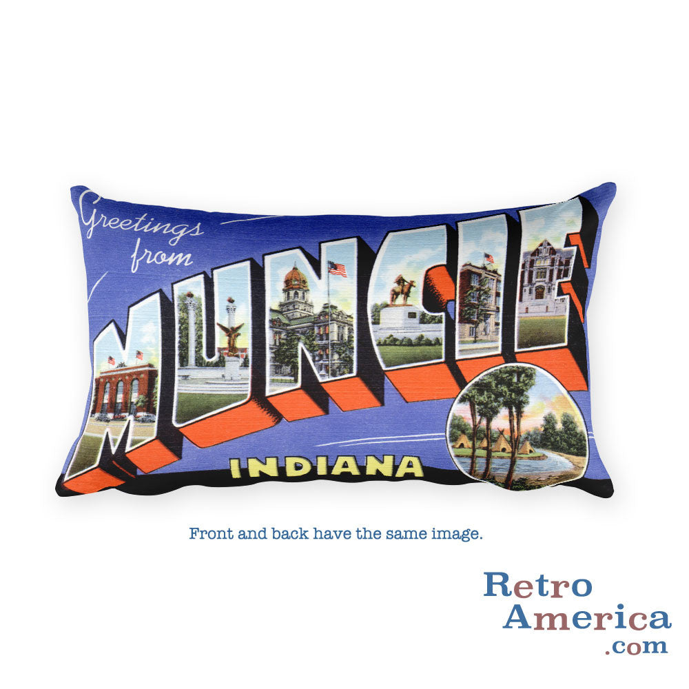 Greetings from Muncie Indiana Throw Pillow