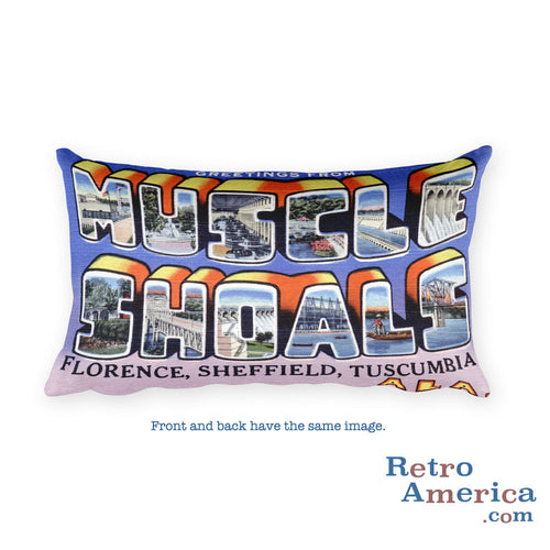 Greetings from Muscle Shoals Alabama Throw Pillow
