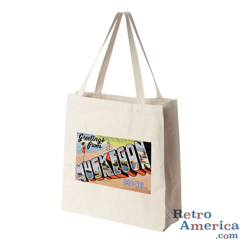 Greetings from Muskegon Michigan MI Postcard Tote Bag
