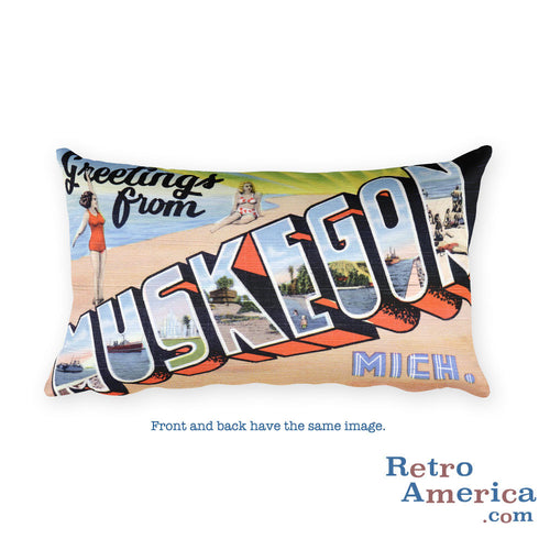 Greetings from Muskegon Michigan Throw Pillow