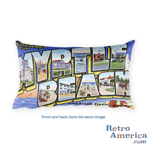 Greetings from Myrtle Beach South Carolina Throw Pillow 1