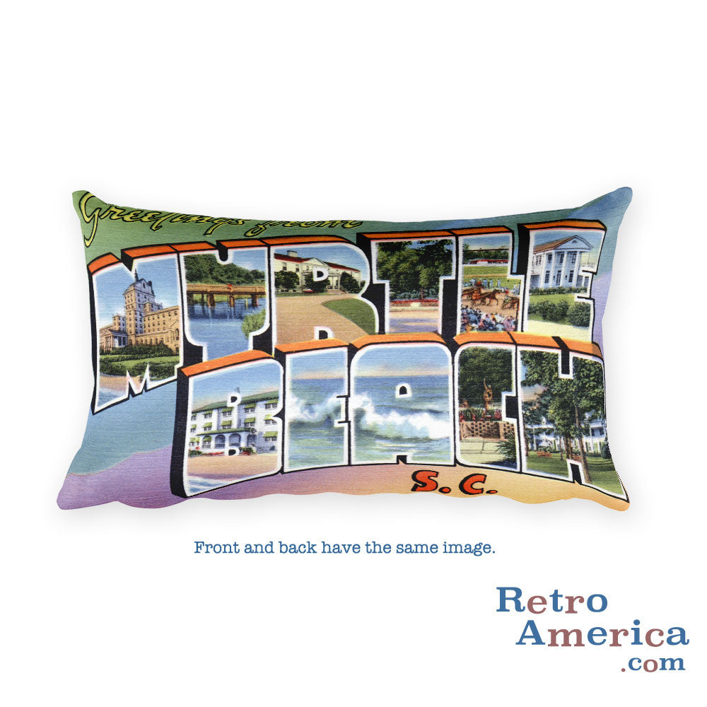 Greetings from Myrtle Beach South Carolina Throw Pillow 3