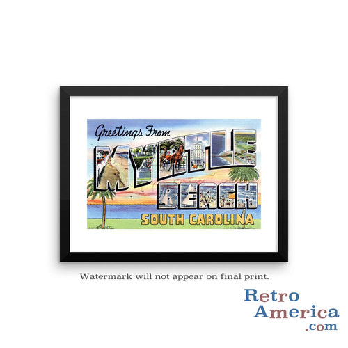 Greetings from Myrtle Beach South Carolina SC 2 Postcard Framed Wall Art