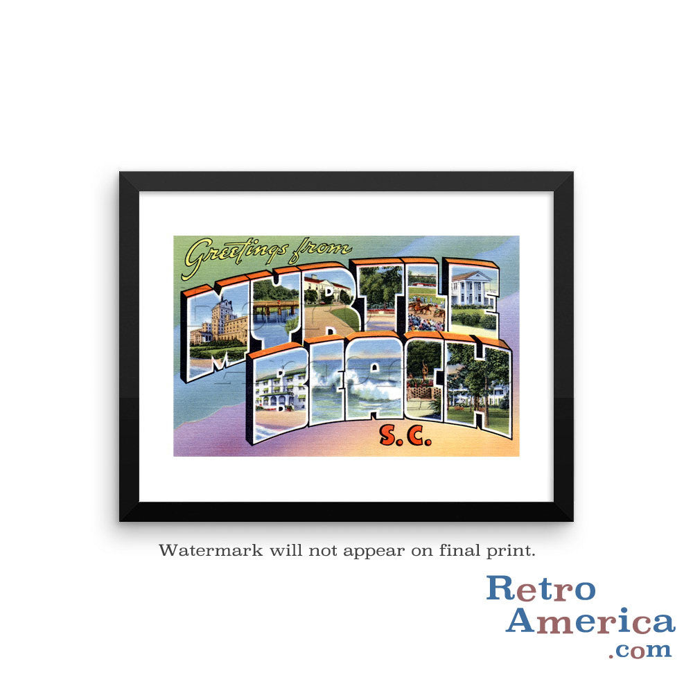 Greetings from Myrtle Beach South Carolina SC 3 Postcard Framed Wall Art