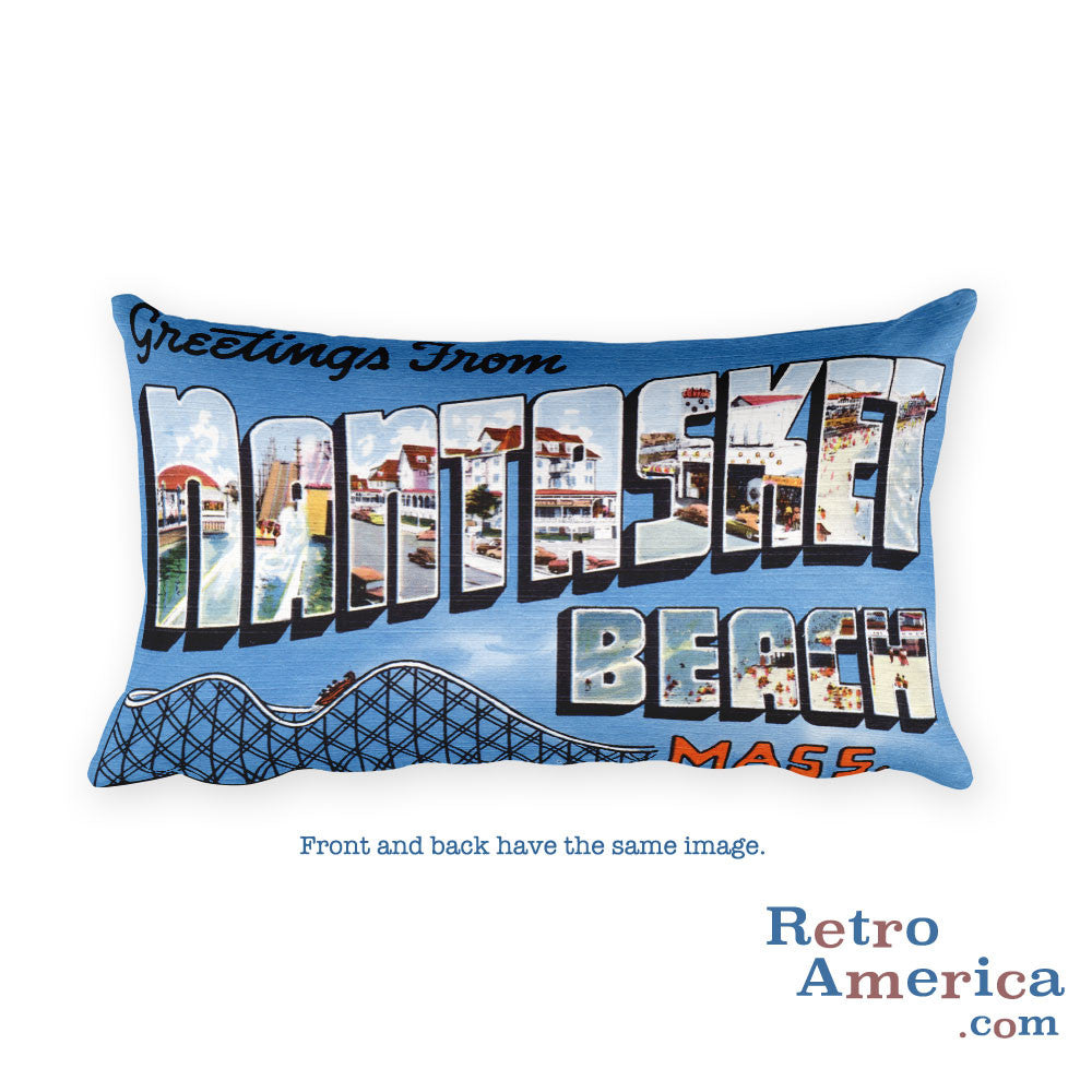 Greetings from Nantasket Massachusetts Throw Pillow
