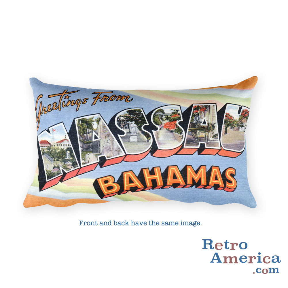 Greetings from Nassau Bahamas Throw Pillow