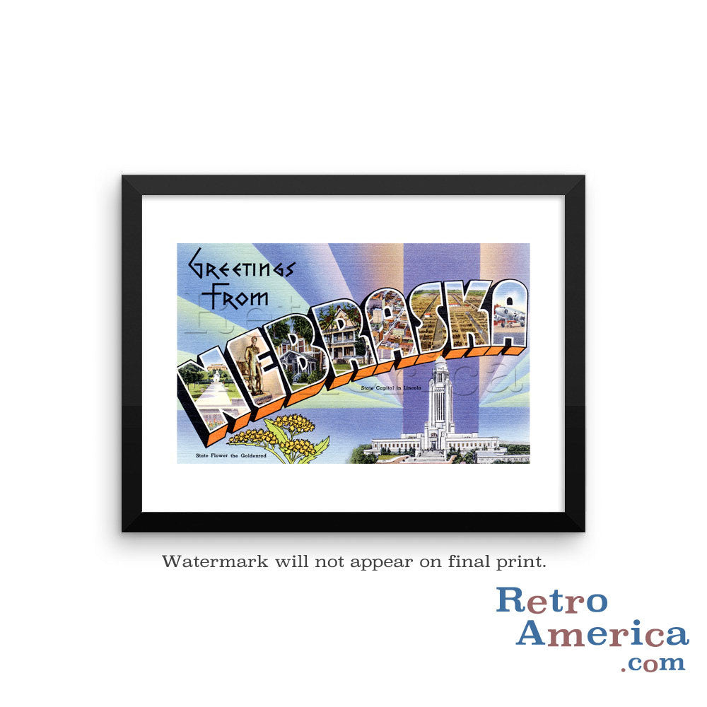Greetings from Nebraska NE 1 Postcard Framed Wall Art