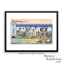 Greetings from Nebraska NE 2 Postcard Framed Wall Art