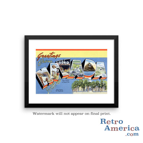 Greetings from Nevada NV 1 Postcard Framed Wall Art