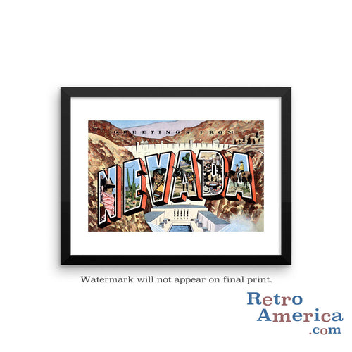 Greetings from Nevada NV 2 Postcard Framed Wall Art