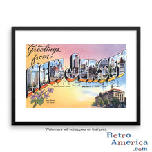 Greetings from New Jersey NJ 1 Postcard Framed Wall Art