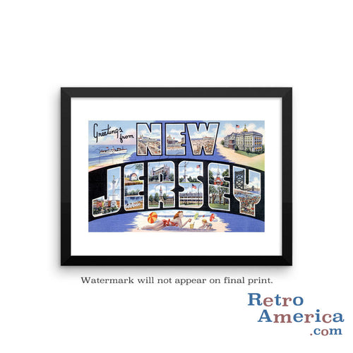 Greetings from New Jersey NJ 2 Postcard Framed Wall Art