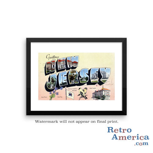 Greetings from New Jersey NJ 3 Postcard Framed Wall Art