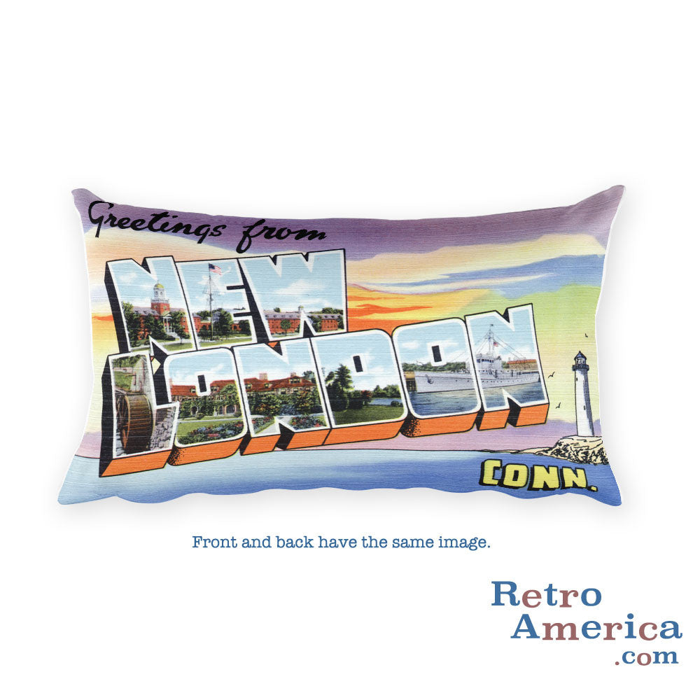 Greetings from New London Connecticut Throw Pillow