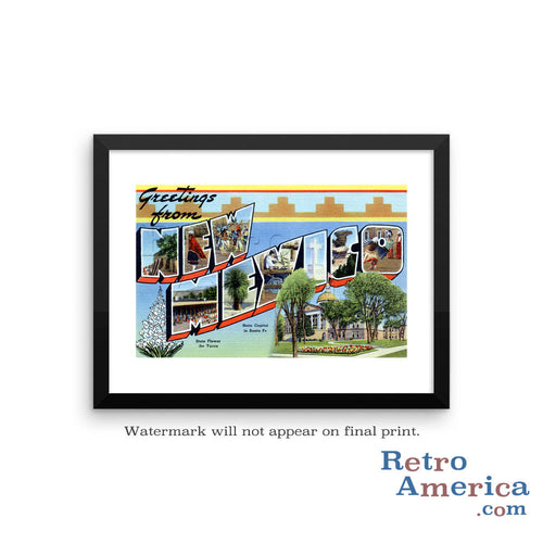 Greetings from New Mexico NM 1 Postcard Framed Wall Art
