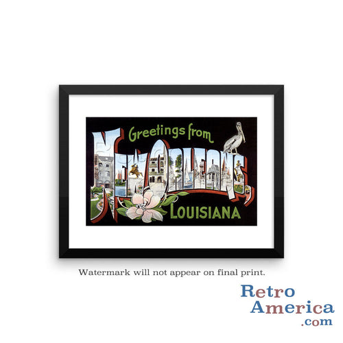 Greetings from new orleans louisiana retroamerica greetings from new orleans louisiana la 1 postcard framed wall art m4hsunfo