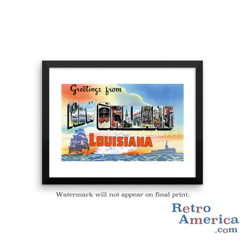 Greetings from New Orleans Louisiana LA 2 Postcard Framed Wall Art