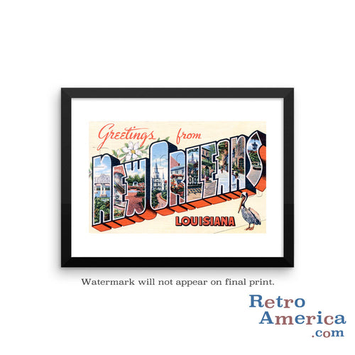 Greetings from New Orleans Louisiana LA 3 Postcard Framed Wall Art