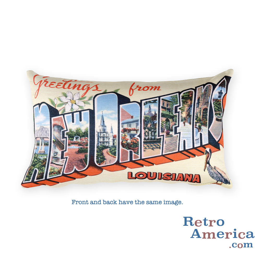 Greetings from New Orleans Louisiana Throw Pillow 2