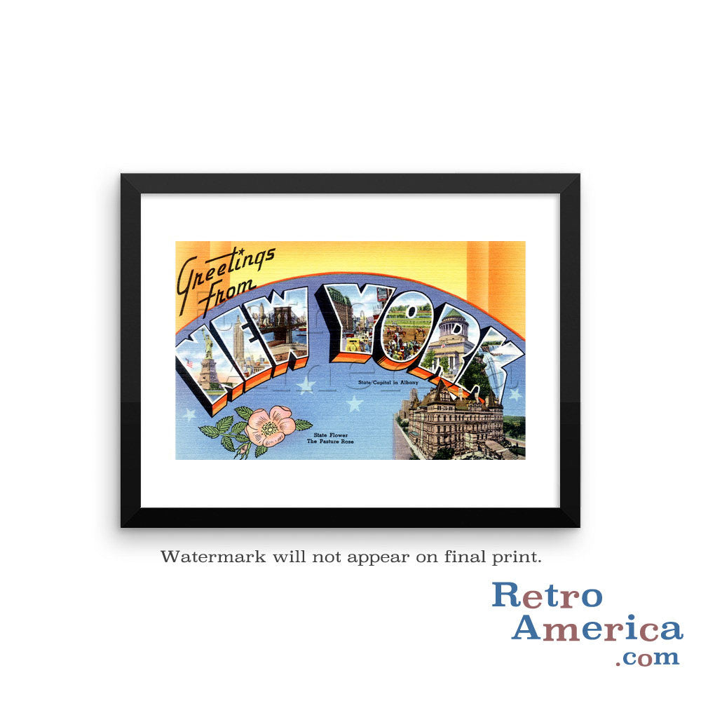 Greetings from New York NY 1 Postcard Framed Wall Art