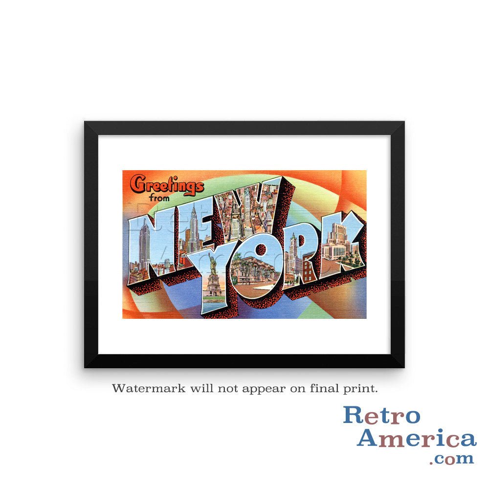Greetings from New York NY 2 Postcard Framed Wall Art