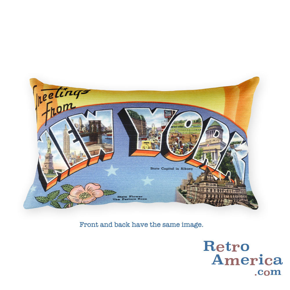 Greetings from New York Throw Pillow 1