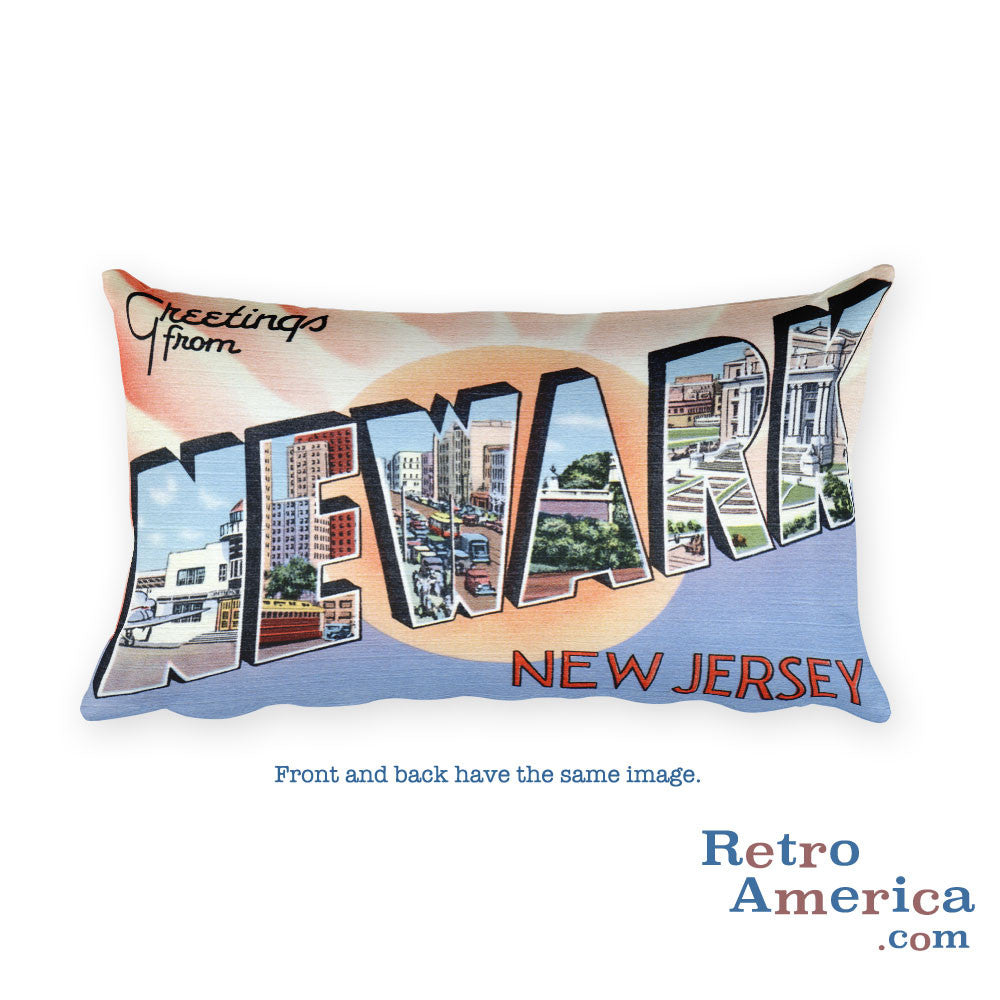 Greetings from Newark New Jersey Throw Pillow 3