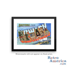 Greetings from Newark Ohio OH Postcard Framed Wall Art